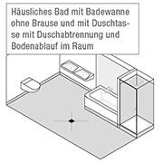 Häusliches Bad mit Badewanne ohne Brause und mit Duschtasse mit Duschabtrennung und Bodenablauf im Raum