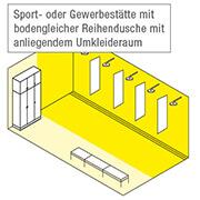 Sport- oder Gewerbestätte mit bodengleicher Reihendusche mit anliegendem Umkleideraum