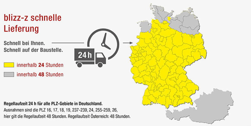 Schnelle Lieferung - Auf dieser Karte sehen Sie die Regelversandzeit