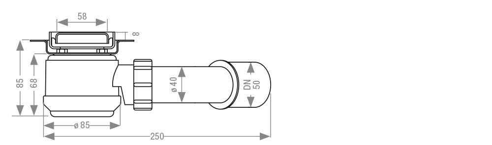 Einbaumaß für Ablauf easyline plus