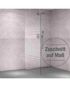 Glas-Duschabtrennung Klarglas einseitiger Teilsiebdruck - Streifendekor auf Zuschnitt